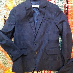 Boys H&M blue Glen Plaid Suit Size 7-8